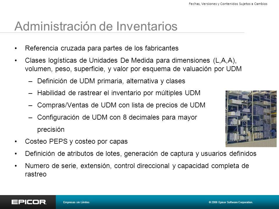 Administración de Inventarios Referencia cruzada para partes de los fabricantes Clases logísticas de Unidades De Medida para dimensiones (L,A,A), volu
