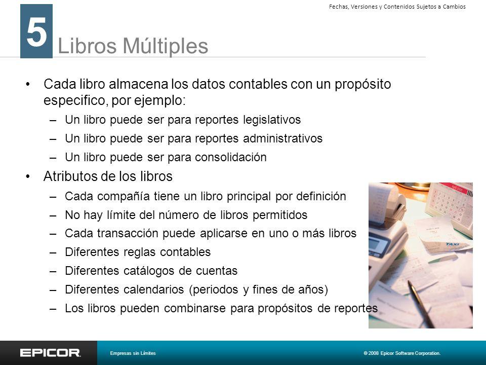 Libros Múltiples Cada libro almacena los datos contables con un propósito especifico, por ejemplo: –Un libro puede ser para reportes legislativos –Un