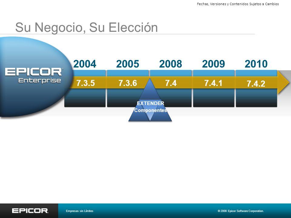 Su Negocio, Su Elección 20092008200520042010 7.4.2 7.4.1 7.47.3.6 7.3.5 EXTENDER Componentes Empresas sin Límites© 2008 Epicor Software Corporation. F