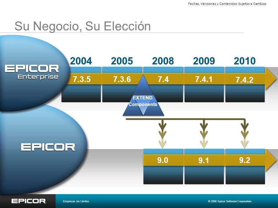 Su Negocio, Su Elección 20092008200520042010 7.4.2 7.4.1 7.47.3.6 7.3.5 9.0 9.1 9.2 EXTEND Components Empresas sin Límites© 2008 Epicor Software Corpo