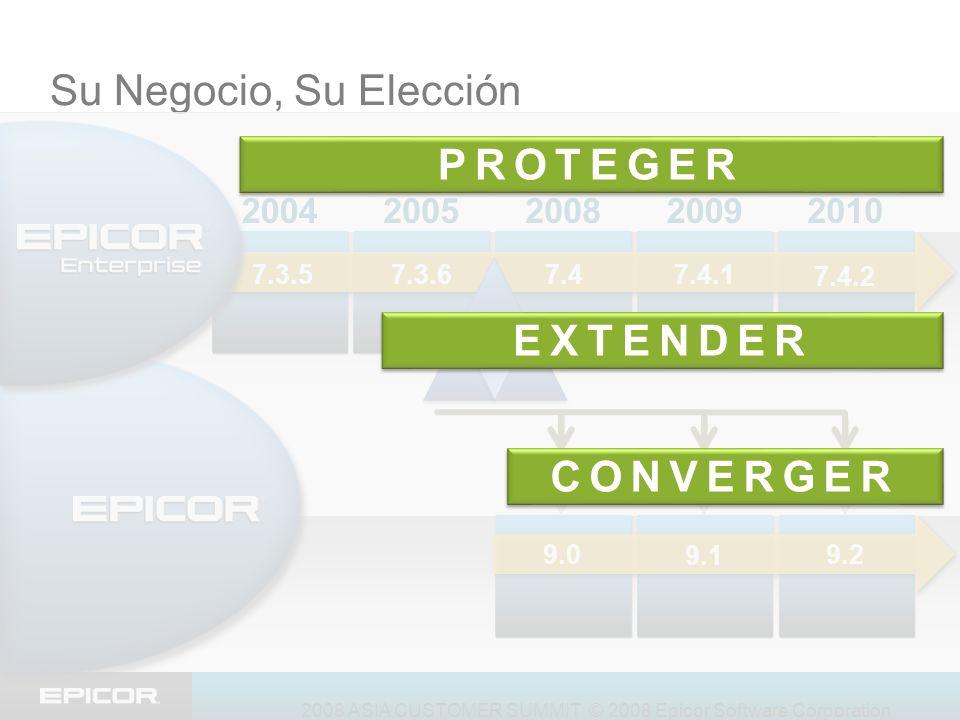 2008 ASIA CUSTOMER SUMMIT © 2008 Epicor Software Corporation Su Negocio, Su Elección 20092008200520042010 7.4.2 7.4.1 7.47.3.6 7.3.5 9.0 9.1 9.2 EXTEN