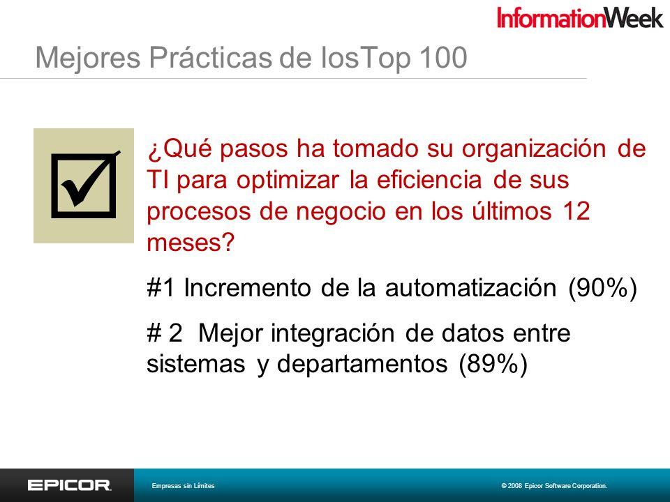Mejores Prácticas de losTop 100 ¿Qué pasos ha tomado su organización de TI para optimizar la eficiencia de sus procesos de negocio en los últimos 12 m