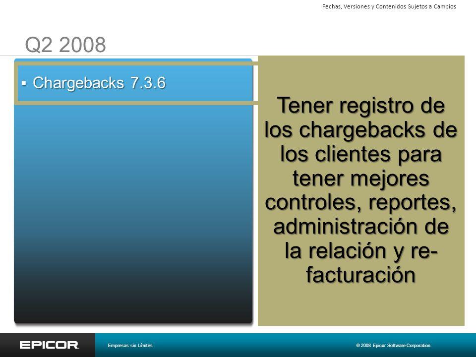 Q2 2008 Chargebacks 7.3.6 Chargebacks 7.3.6 Tener registro de los chargebacks de los clientes para tener mejores controles, reportes, administración d
