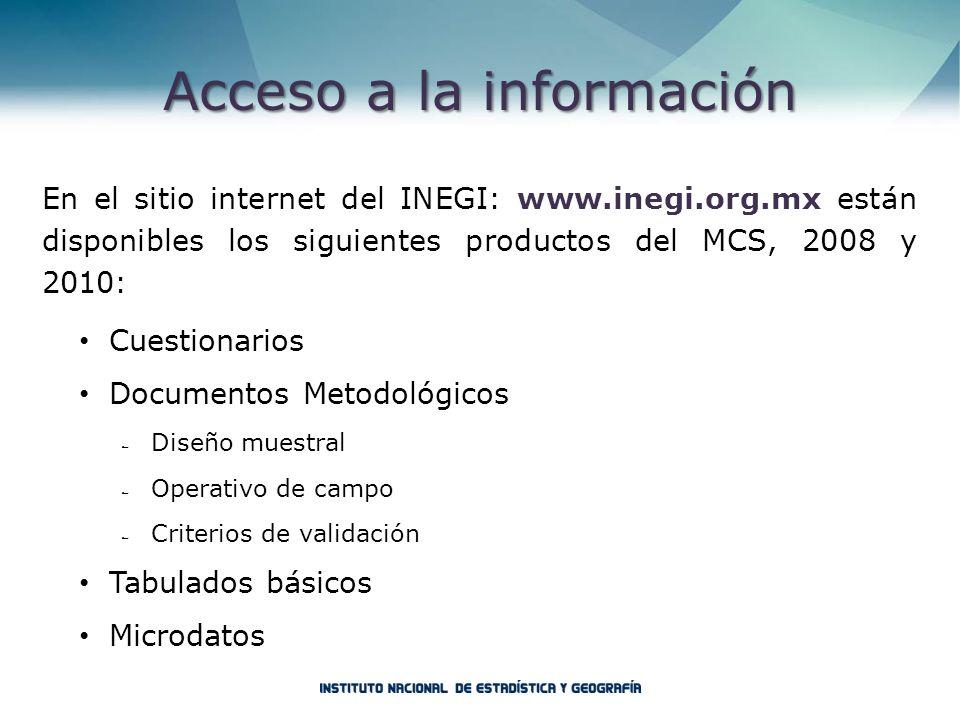 Acceso a la información En el sitio internet del INEGI: www.inegi.org.mx están disponibles los siguientes productos del MCS, 2008 y 2010: Cuestionario