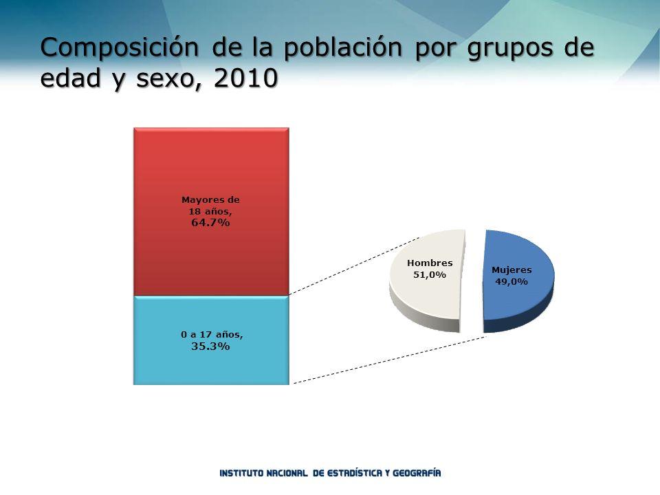 Composición de la población por grupos de edad y sexo, 2010