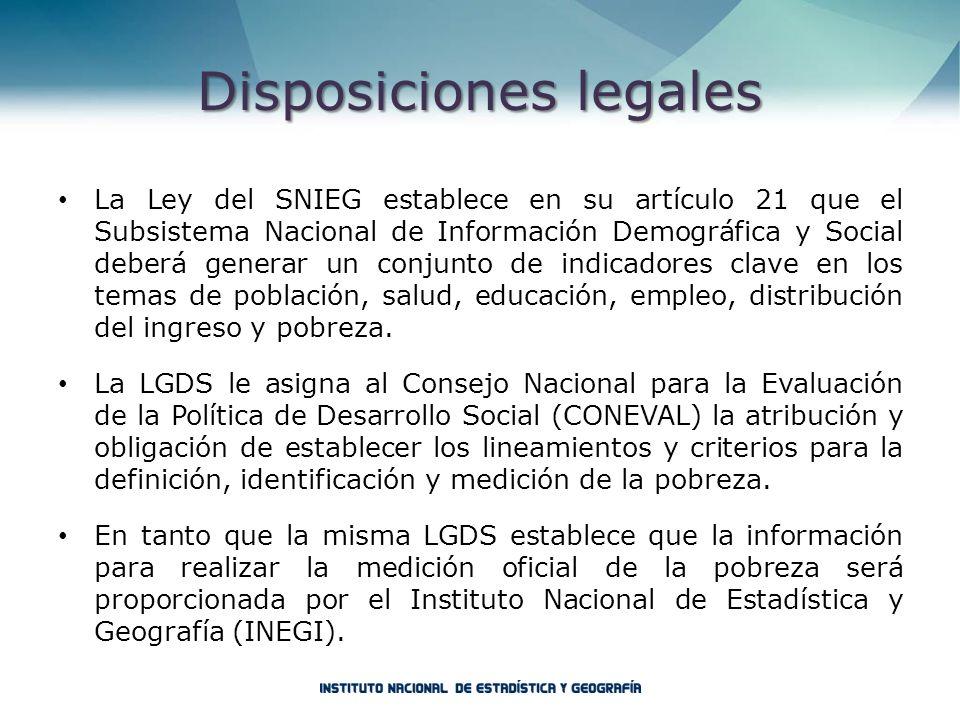 Disposicioneslegales Disposiciones legales La Ley del SNIEG establece en su artículo 21 que el Subsistema Nacional de Información Demográfica y Social