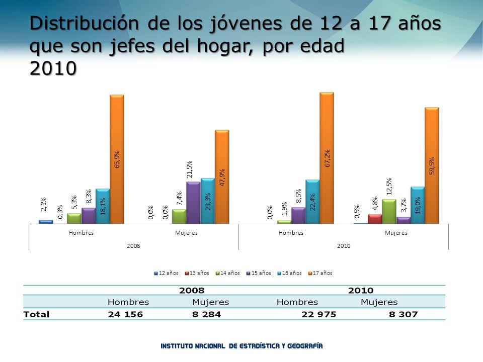 Distribución de los jóvenes de 12 a 17 años que son jefes del hogar, por edad 2010