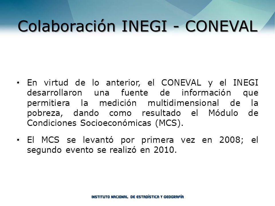 Colaboración INEGI - CONEVAL En virtud de lo anterior, el CONEVAL y el INEGI desarrollaron una fuente de información que permitiera la medición multid