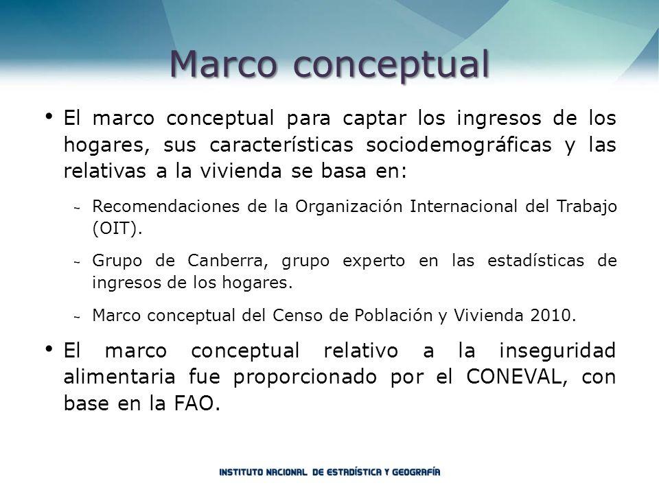 Marco conceptual El marco conceptual para captar los ingresos de los hogares, sus características sociodemográficas y las relativas a la vivienda se b