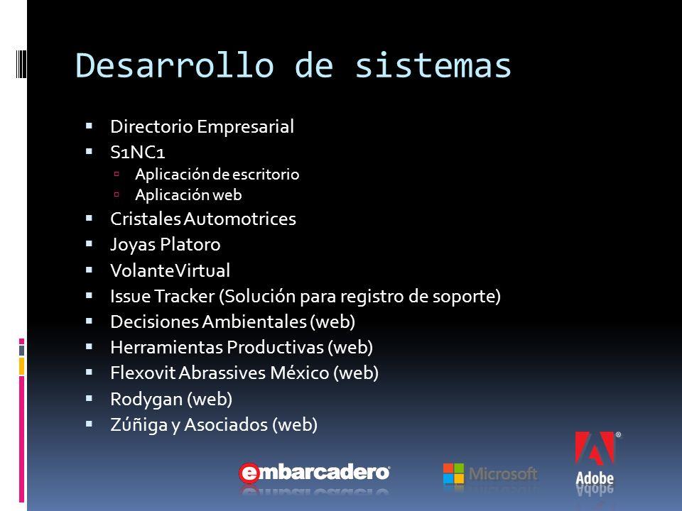 Desarrollo de sistemas Directorio Empresarial S1NC1 Aplicación de escritorio Aplicación web Cristales Automotrices Joyas Platoro VolanteVirtual Issue Tracker (Solución para registro de soporte) Decisiones Ambientales (web) Herramientas Productivas (web) Flexovit Abrassives México (web) Rodygan (web) Zúñiga y Asociados (web)