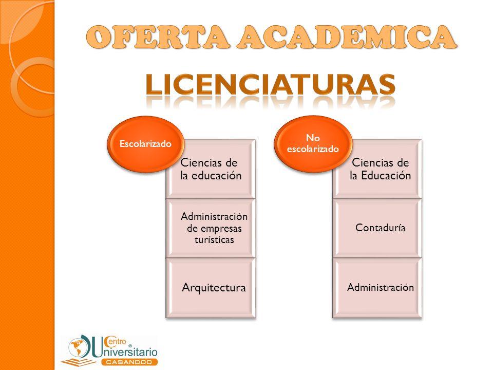 Ciencias de la educación Administración de empresas turísticas Arquitectura Escolarizado Ciencias de la Educación Contaduría Administración No escolar