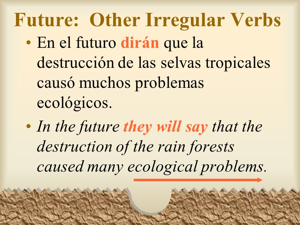 Future: Other Irregular Verbs Other verbs that have irregular stems in the future tense are: Decirdir- Ponerpondr- Quererquerr- Salirsaldr- Venirvendr
