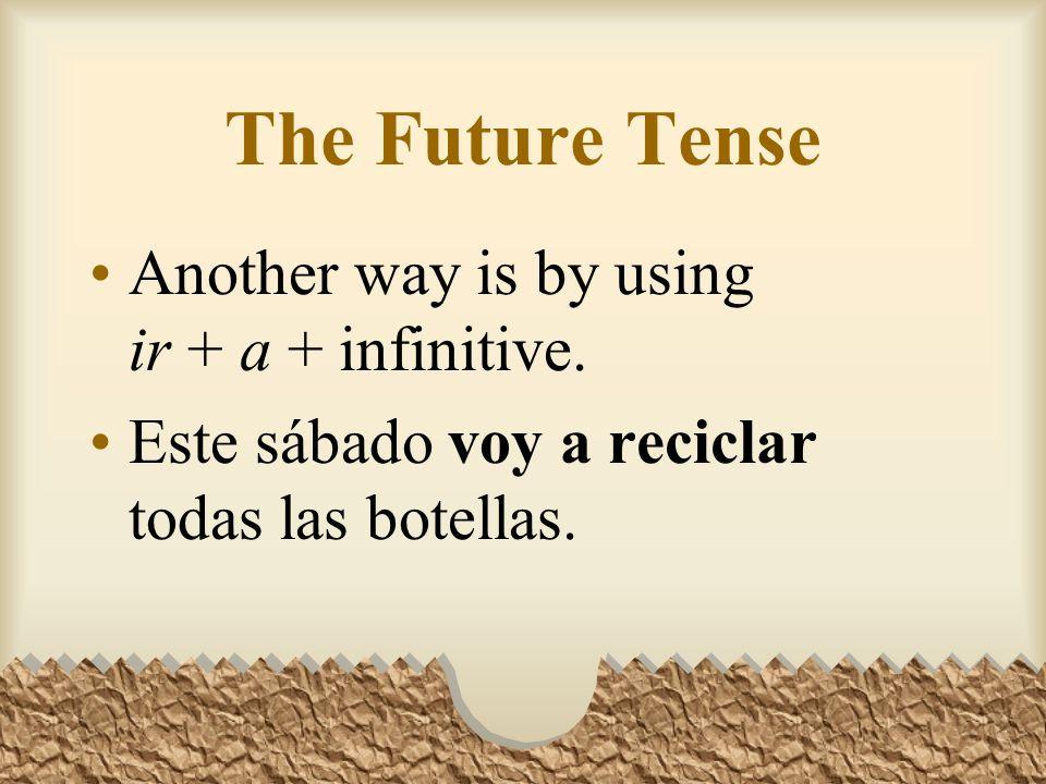 Future: Other Irregular Verbs Other verbs that have irregular stems in the future tense are: Decirdir- Ponerpondr- Quererquerr- Salirsaldr- Venirvendr-