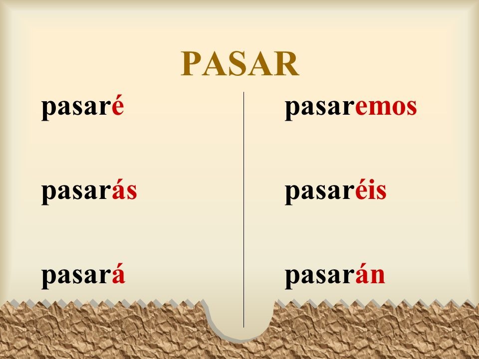 The Future Tense Here are all the forms of pasar, aprender, and pedir in the future tense. Note that all three kinds of verbs have the same endings. A