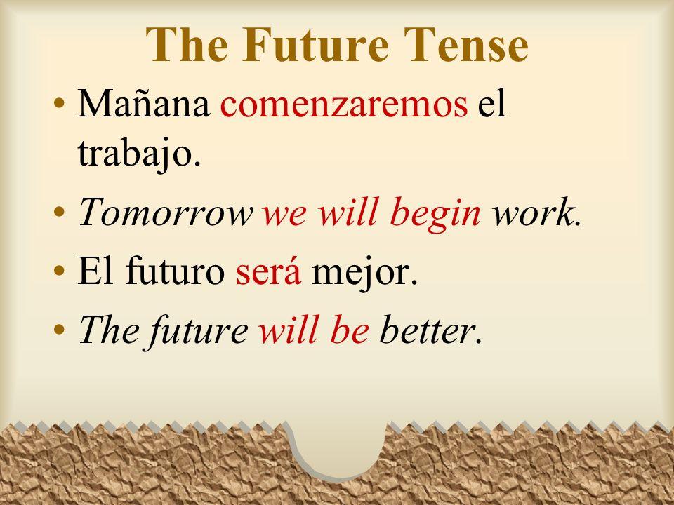 The Future Tense Mañana comenzaremos el trabajo.Tomorrow we will begin work.