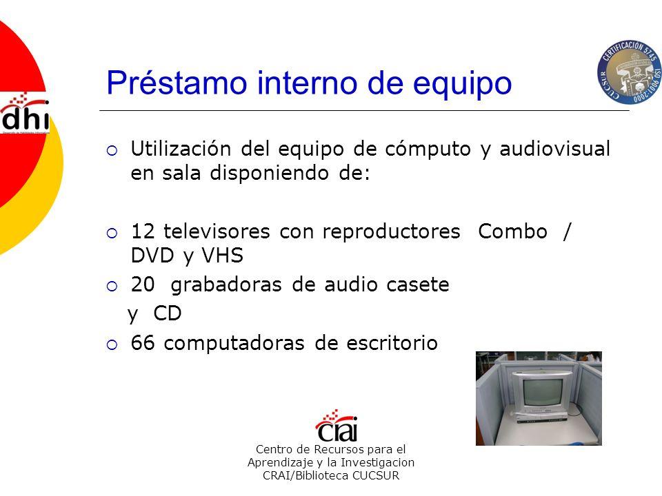 Centro de Recursos para el Aprendizaje y la Investigacion CRAI/Biblioteca CUCSUR Préstamo interno de equipo Utilización del equipo de cómputo y audiov