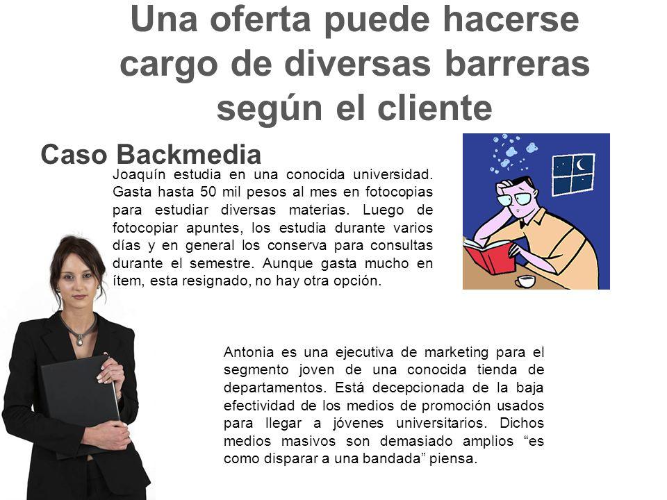 Una oferta puede hacerse cargo de diversas barreras según el cliente Caso Backmedia Joaquín estudia en una conocida universidad.