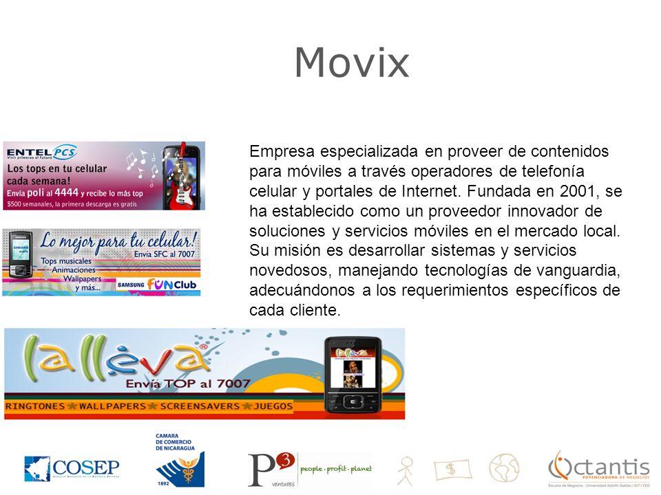 Movix Empresa especializada en proveer de contenidos para móviles a través operadores de telefonía celular y portales de Internet.