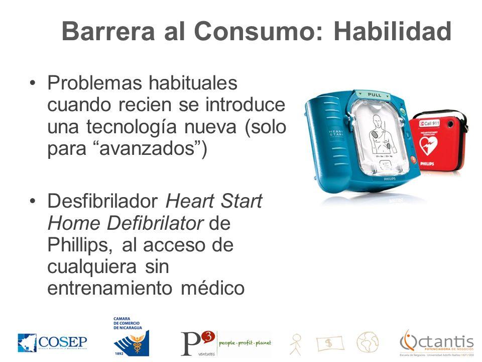 Barrera al Consumo: Habilidad Problemas habituales cuando recien se introduce una tecnología nueva (solo para avanzados) Desfibrilador Heart Start Home Defibrilator de Phillips, al acceso de cualquiera sin entrenamiento médico