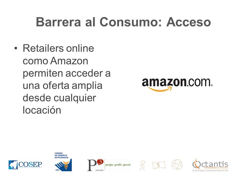 Barrera al Consumo: Acceso Retailers online como Amazon permiten acceder a una oferta amplia desde cualquier locación
