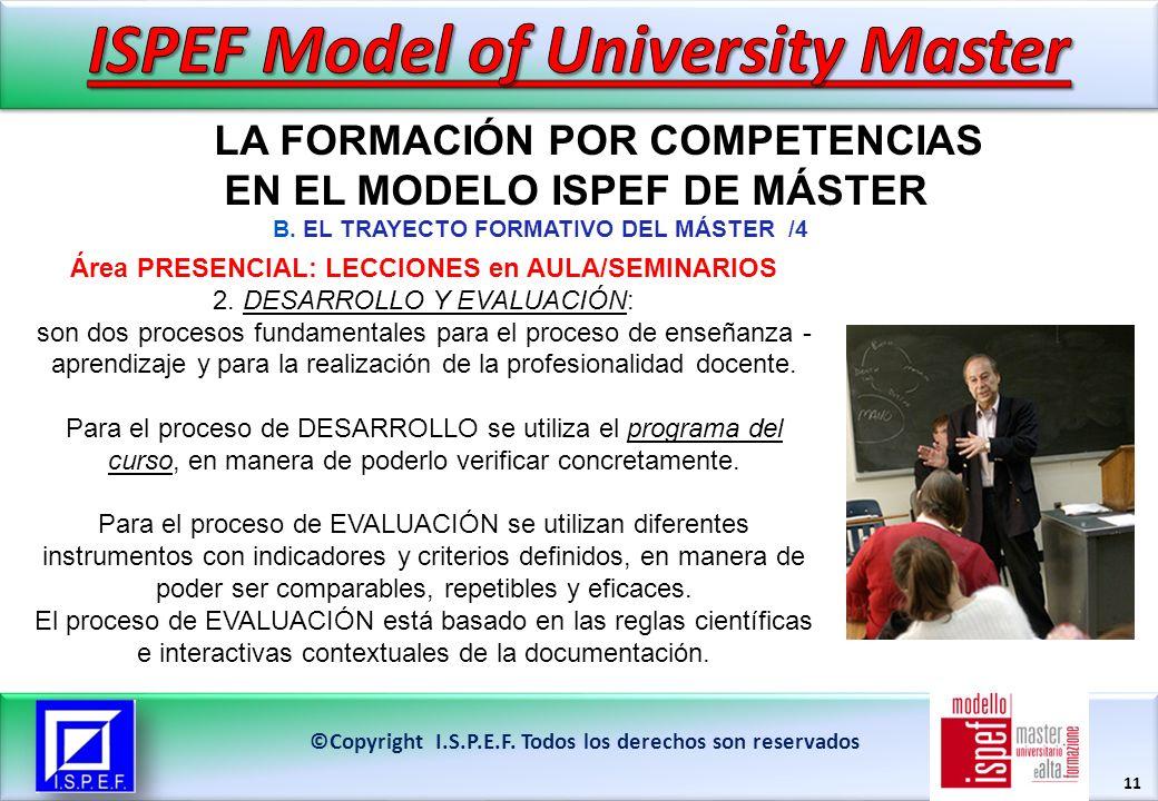 11 LA FORMACIÓN POR COMPETENCIAS EN EL MODELO ISPEF DE MÁSTER ©Copyright I.S.P.E.F.