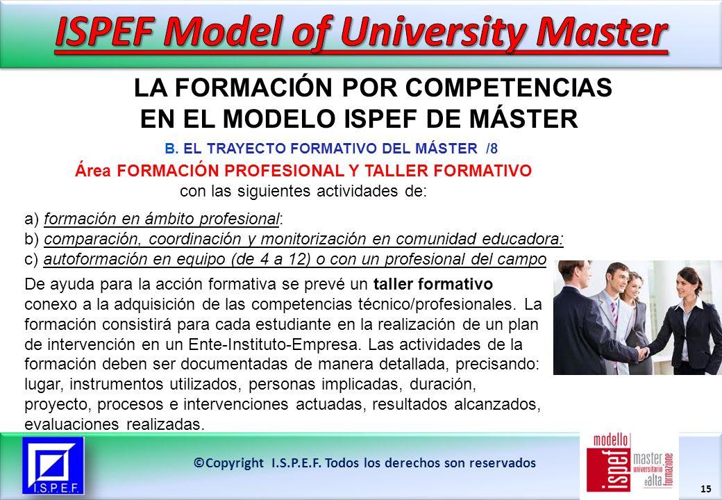 15 LA FORMACIÓN POR COMPETENCIAS EN EL MODELO ISPEF DE MÁSTER ©Copyright I.S.P.E.F.