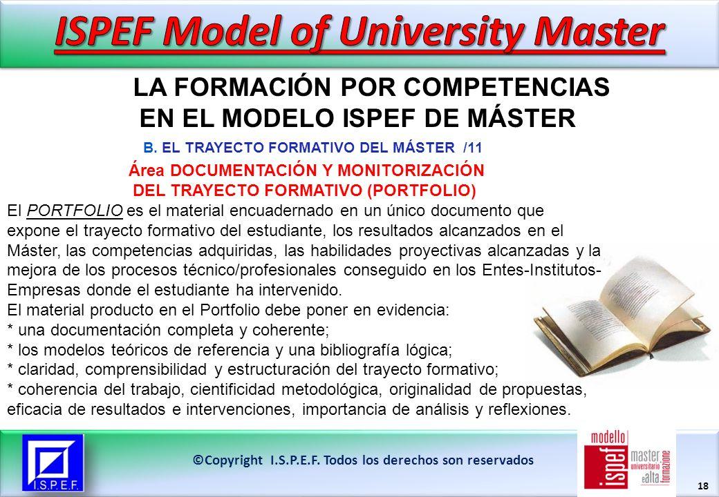 18 LA FORMACIÓN POR COMPETENCIAS EN EL MODELO ISPEF DE MÁSTER ©Copyright I.S.P.E.F. Todos los derechos son reservados Área DOCUMENTACIÓN Y MONITORIZAC