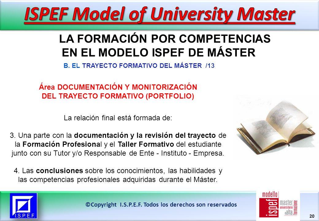 20 LA FORMACIÓN POR COMPETENCIAS EN EL MODELO ISPEF DE MÁSTER ©Copyright I.S.P.E.F.