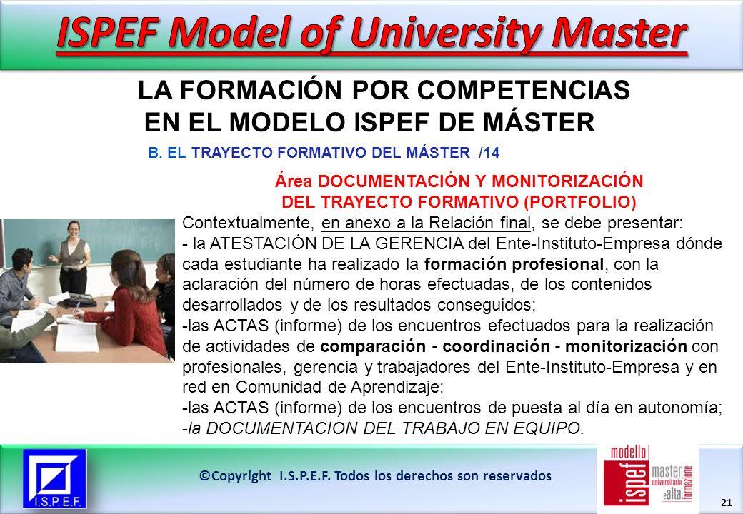 21 LA FORMACIÓN POR COMPETENCIAS EN EL MODELO ISPEF DE MÁSTER ©Copyright I.S.P.E.F.
