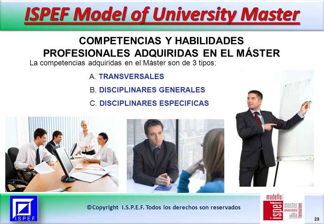 23 COMPETENCIAS Y HABILIDADES PROFESIONALES ADQUIRIDAS EN EL MÁSTER ©Copyright I.S.P.E.F.