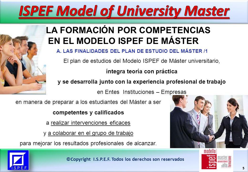 5 LA FORMACIÓN POR COMPETENCIAS EN EL MODELO ISPEF DE MÁSTER ©Copyright I.S.P.E.F. Todos los derechos son reservados El plan de estudios del Modelo IS