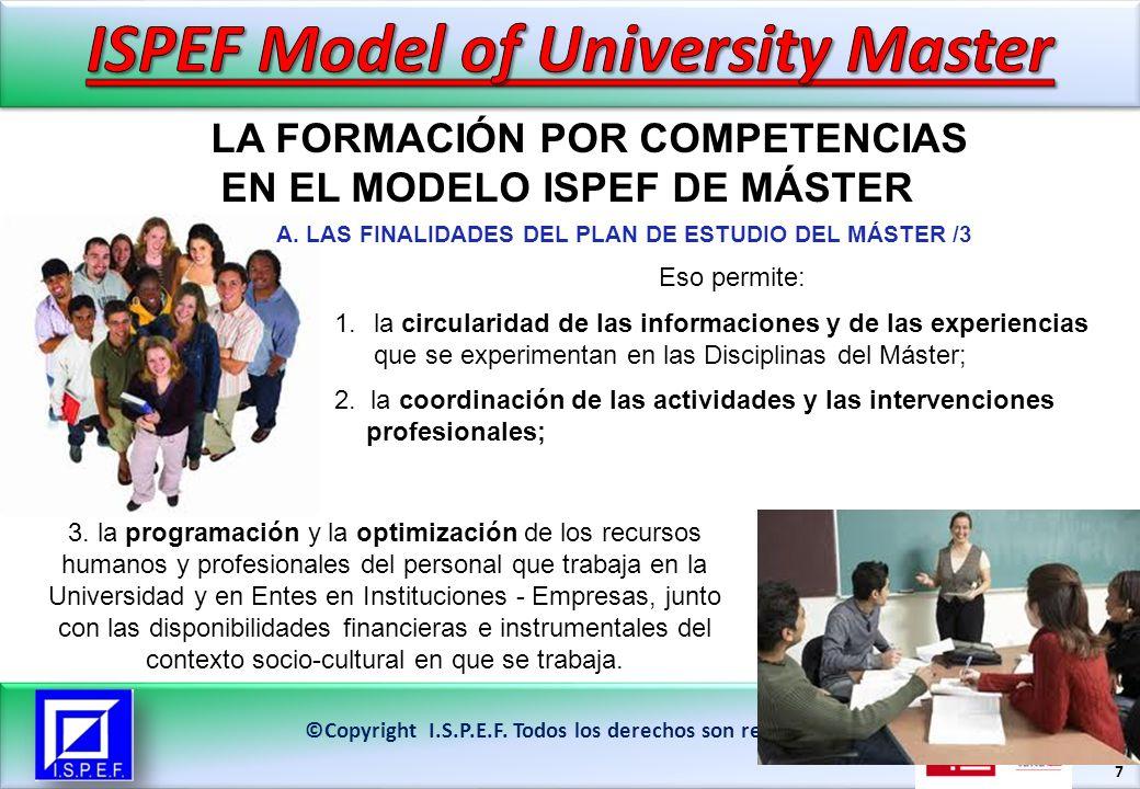 18 LA FORMACIÓN POR COMPETENCIAS EN EL MODELO ISPEF DE MÁSTER ©Copyright I.S.P.E.F.