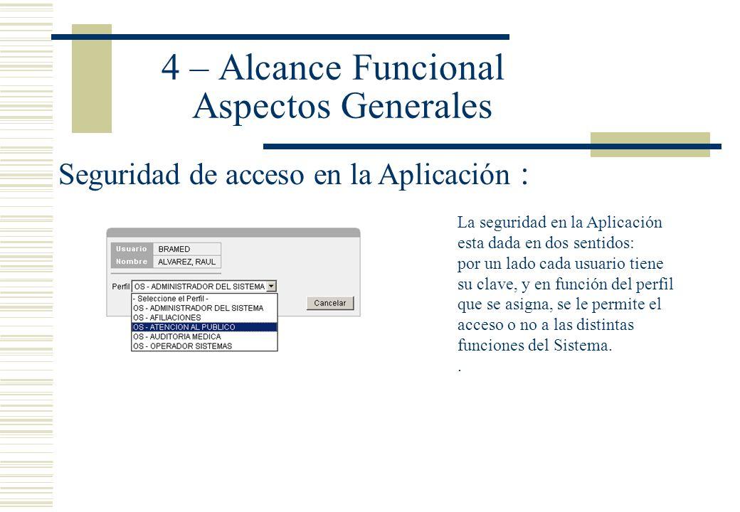 4 – Alcance Funcional Aspectos Generales Seguridad de acceso en la Aplicación : La seguridad en la Aplicación esta dada en dos sentidos: por un lado c