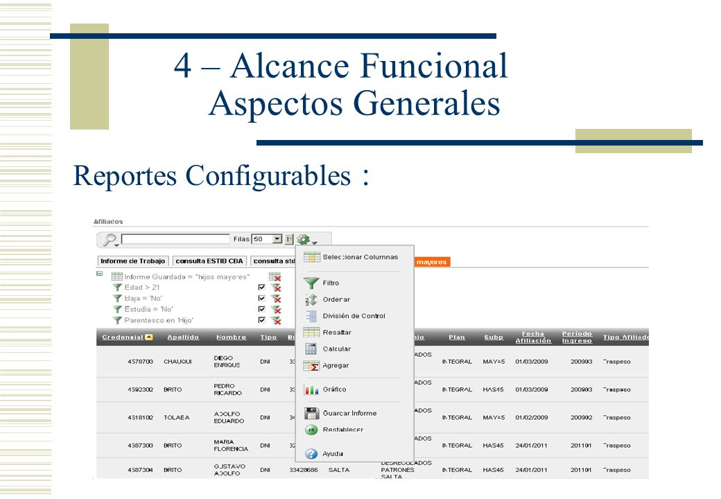 4 – Alcance Funcional Aspectos Generales Reportes Configurables : Por.