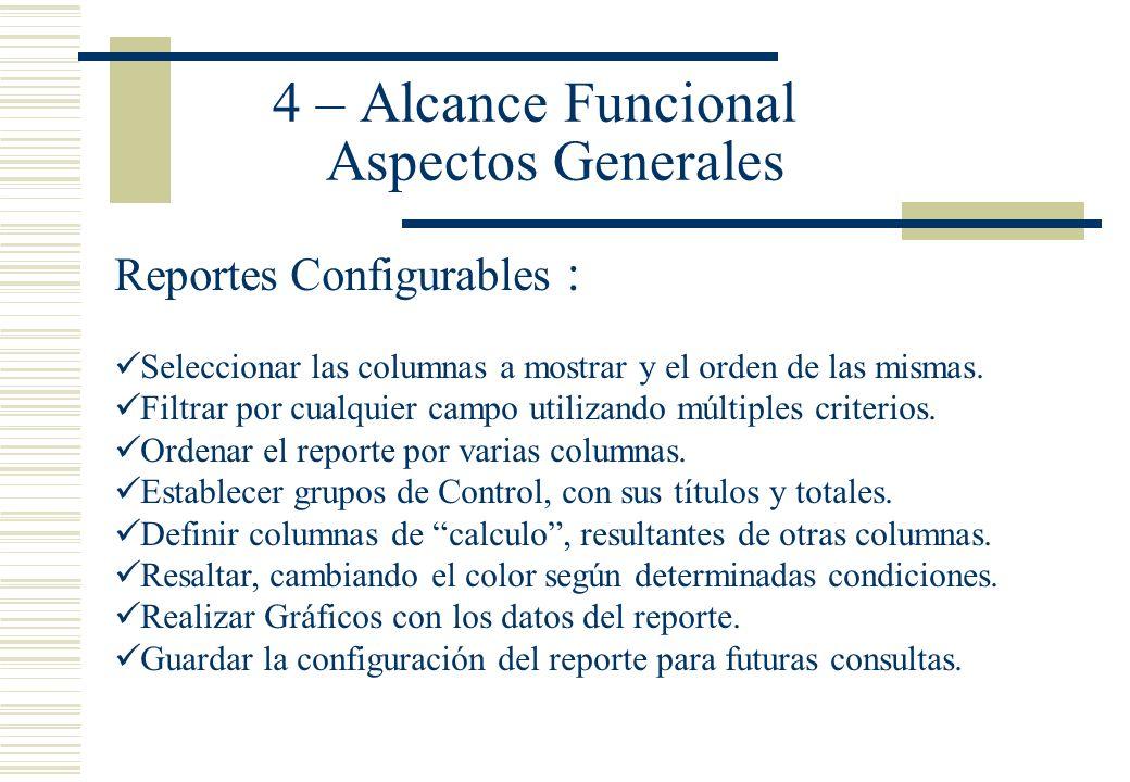 4 – Alcance Funcional Aspectos Generales Reportes Configurables : Seleccionar las columnas a mostrar y el orden de las mismas. Filtrar por cualquier c