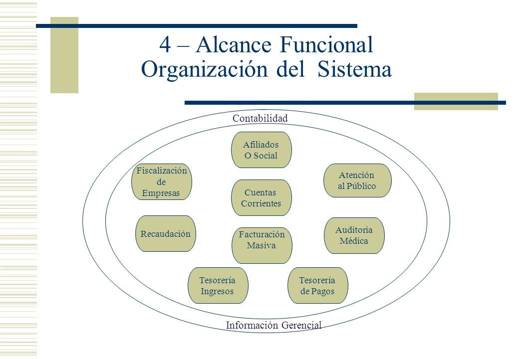 4 – Alcance Funcional Organización del Sistema Afiliados O Social Cuentas Corrientes Facturación Masiva Atención al Público Fiscalización de Empresas