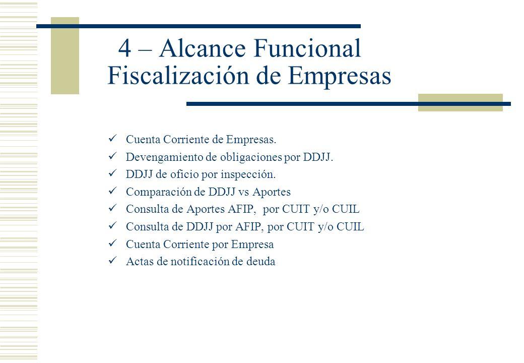 4 – Alcance Funcional Fiscalización de Empresas Cuenta Corriente de Empresas. Devengamiento de obligaciones por DDJJ. DDJJ de oficio por inspección. C