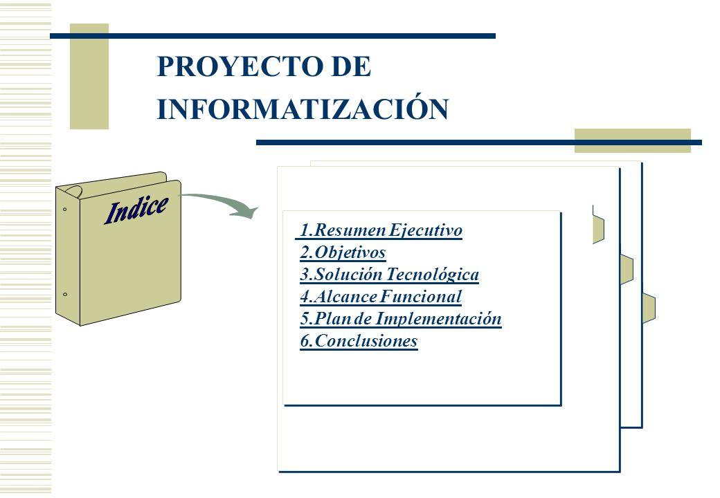 1.Resumen Ejecutivo 2.Objetivos 3.Solución Tecnológica 4.Alcance Funcional 5.Plan de Implementación 6.Conclusiones PROYECTO DE INFORMATIZACIÓN