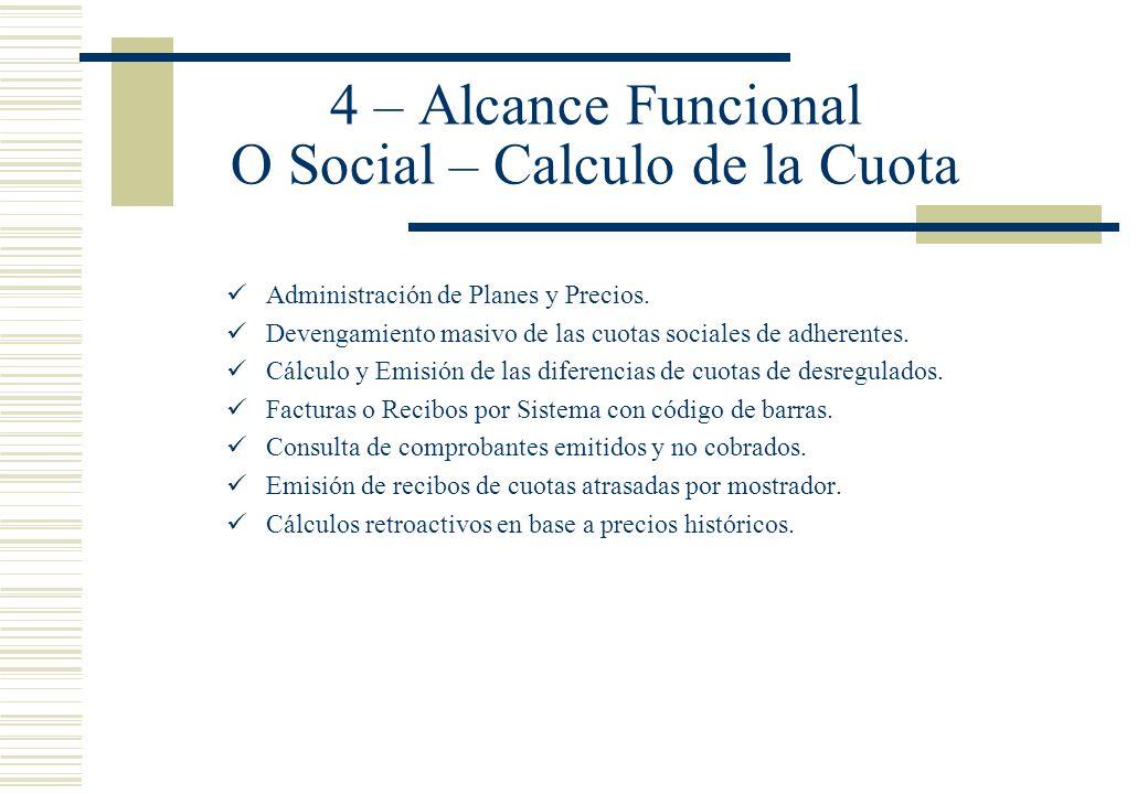 4 – Alcance Funcional O Social – Calculo de la Cuota Administración de Planes y Precios. Devengamiento masivo de las cuotas sociales de adherentes. Cá
