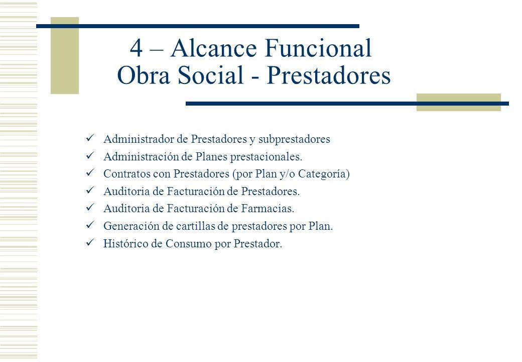 4 – Alcance Funcional Obra Social - Prestadores Administrador de Prestadores y subprestadores Administración de Planes prestacionales. Contratos con P