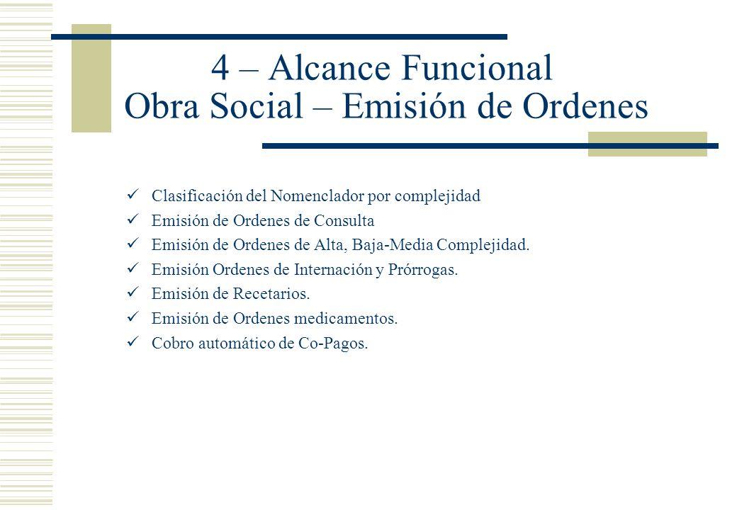 4 – Alcance Funcional Obra Social – Emisión de Ordenes Clasificación del Nomenclador por complejidad Emisión de Ordenes de Consulta Emisión de Ordenes