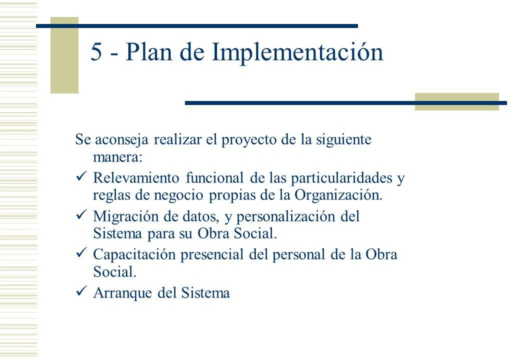 5 - Plan de Implementación Se aconseja realizar el proyecto de la siguiente manera: Relevamiento funcional de las particularidades y reglas de negocio