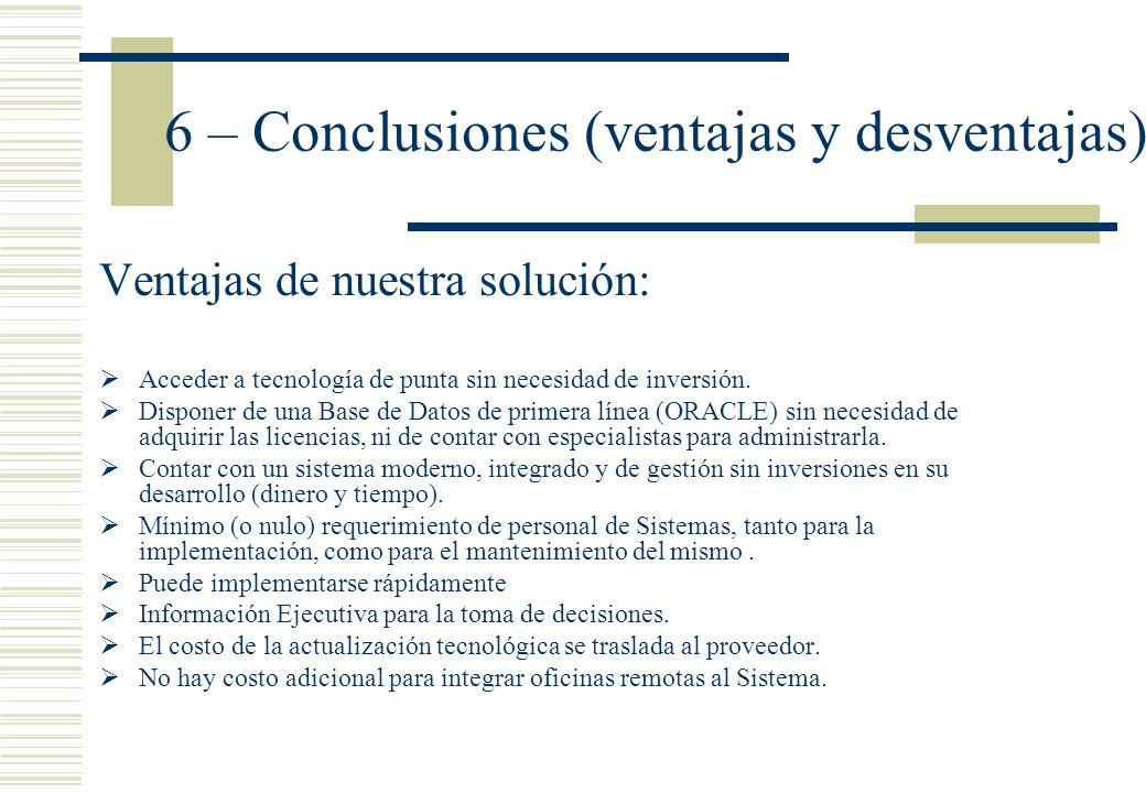 6 – Conclusiones (ventajas y desventajas) Ventajas de nuestra solución: Acceder a tecnología de punta sin necesidad de inversión. Disponer de una Base