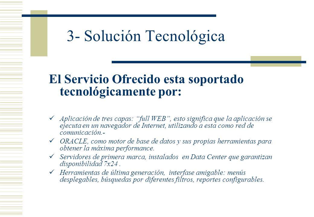 3- Solución Tecnológica El Servicio Ofrecido esta soportado tecnológicamente por: Aplicación de tres capas: full WEB, esto significa que la aplicación