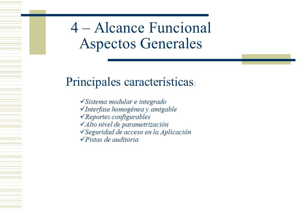 4 – Alcance Funcional Aspectos Generales Principales características : Sistema modular e integrado Sistema modular e integrado Interfase homogénea y a