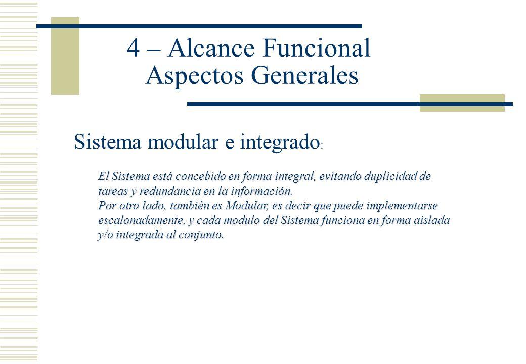 4 – Alcance Funcional Aspectos Generales Sistema modular e integrado : El Sistema está concebido en forma integral, evitando duplicidad de tareas y re