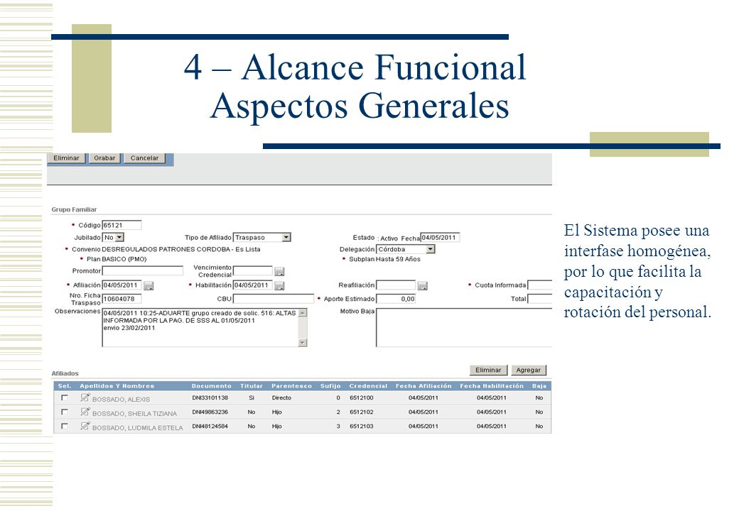 4 – Alcance Funcional Aspectos Generales Interfase homogénea y amigable: El Sistema posee una interfase homogénea, por lo que facilita la capacitación