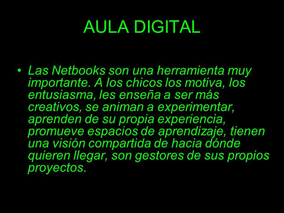 AULA DIGITAL Las Netbooks son una herramienta muy importante. A los chicos los motiva, los entusiasma, les enseña a ser más creativos, se animan a exp