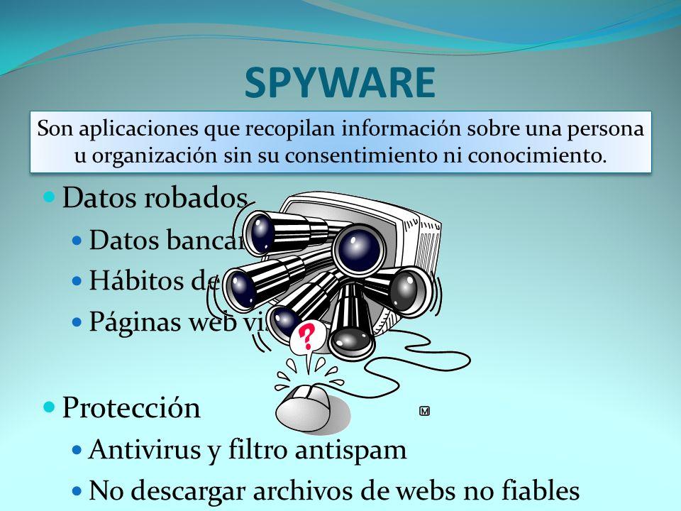 SPYWARE Datos robados Datos bancarios Hábitos de návegación Páginas web visitadas Protección Antivirus y filtro antispam No descargar archivos de webs