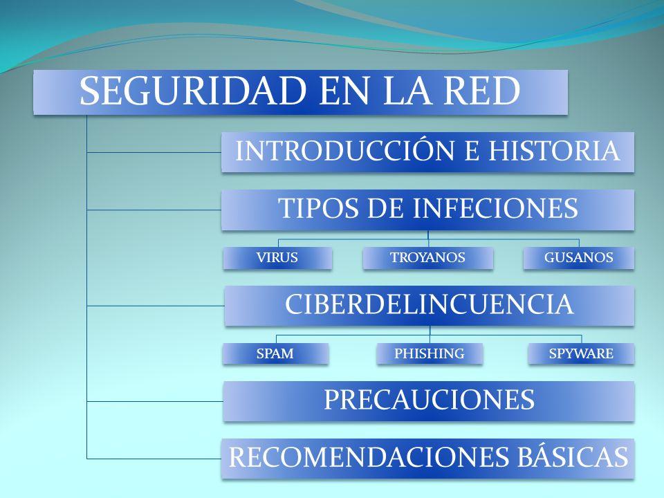 SEGURIDAD EN LA RED INTRODUCCIÓN E HISTORIA TIPOS DE INFECIONES VIRUSTROYANOSGUSANOS CIBERDELINCUENCIA SPAMPHISHINGSPYWARE PRECAUCIONES RECOMENDACIONE